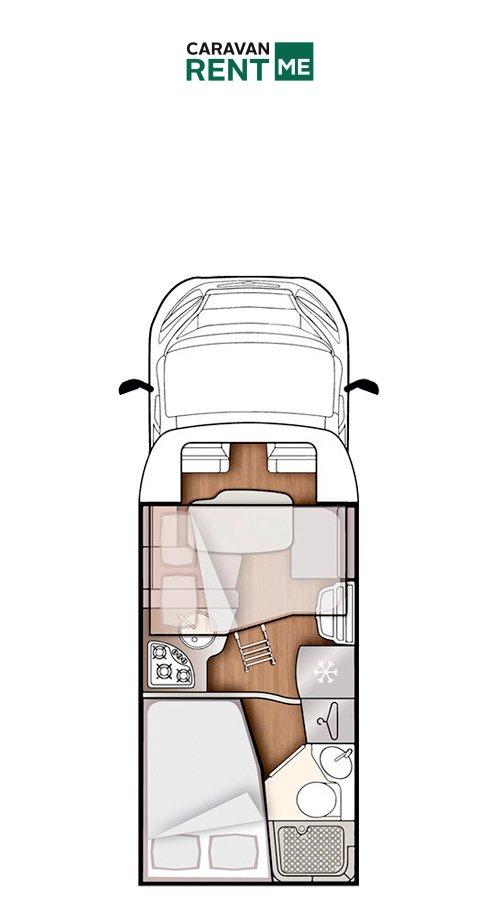Grundskizze Wohnmobil Forster Teilintegriert T 599 HB