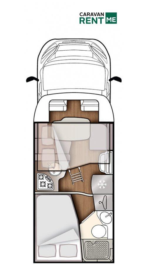 Grundskizze Wohnmobil Forster Teilintegriert T 649 SB