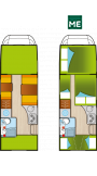 Grundskizze Wohnmobil  Alkoven