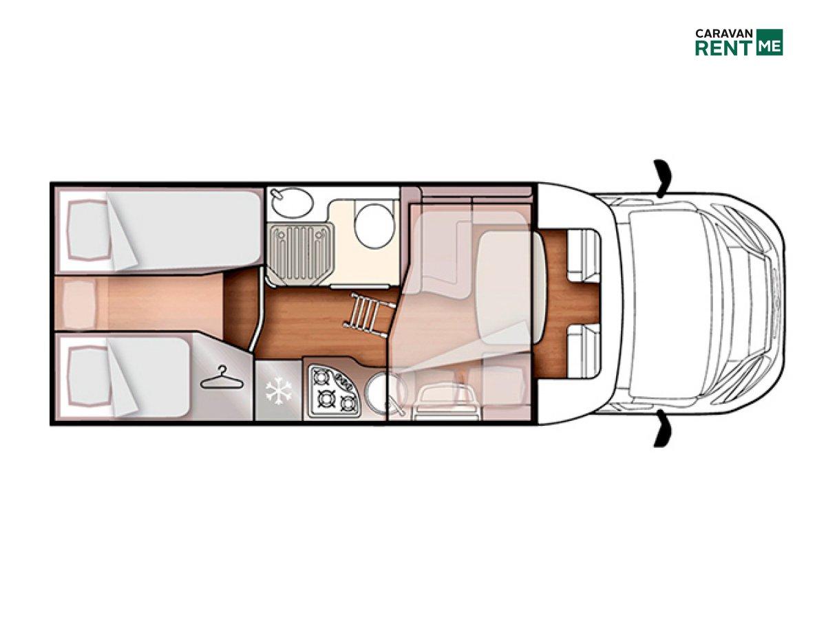 Grundskizze Wohnmobil Forster Teilintegriert T 699 EB
