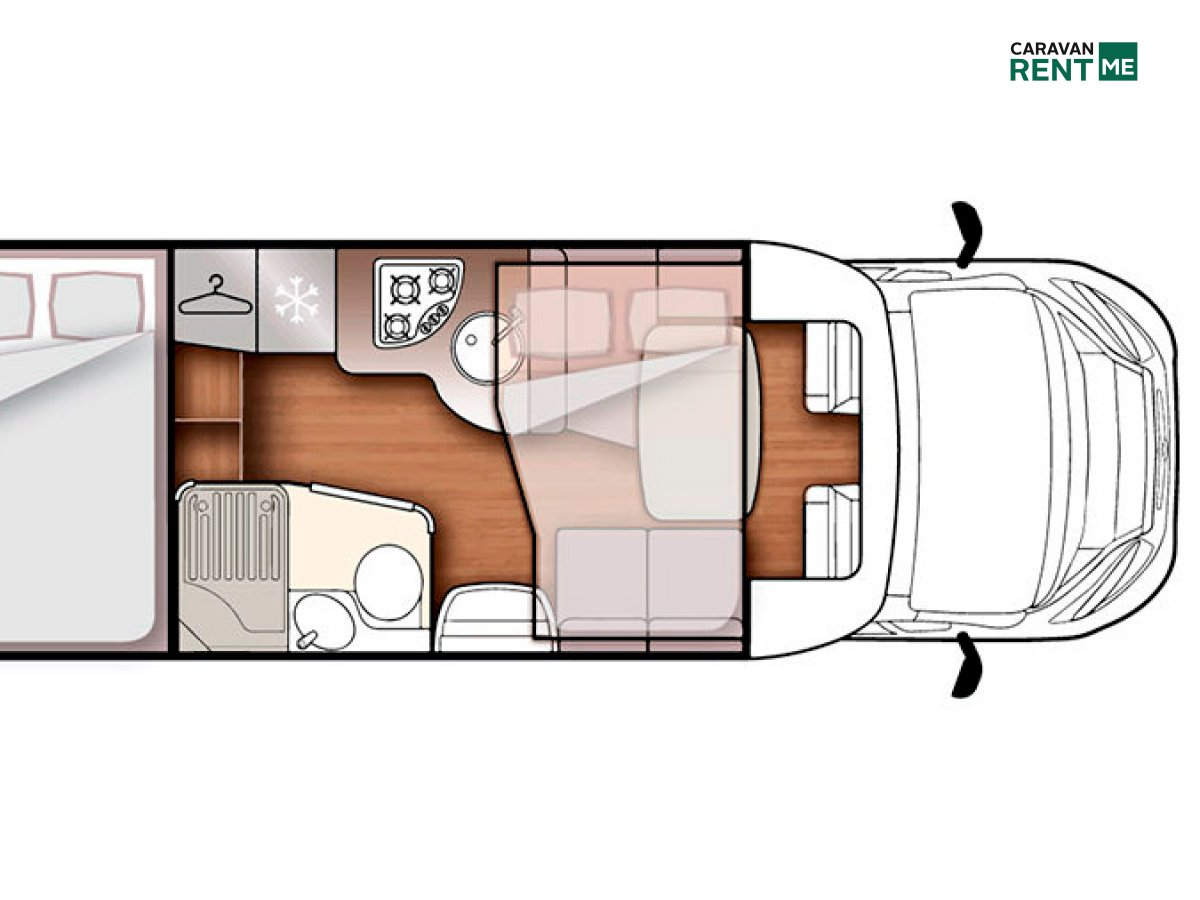 Grundskizze Wohnmobil Forster Teilintegriert T 699 HB